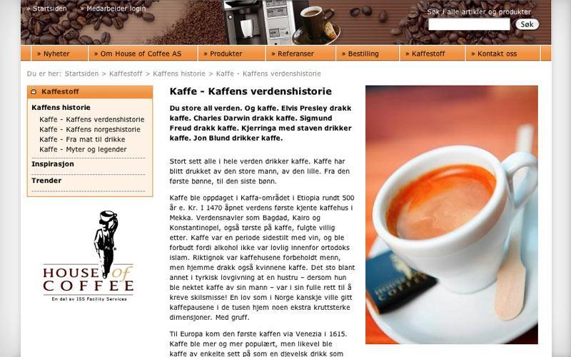 Webutvikling for House of Coffee